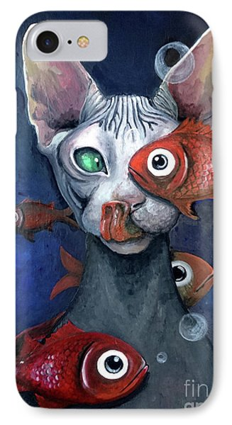 Cat And Fish IPhone Case by Akiko Okabe