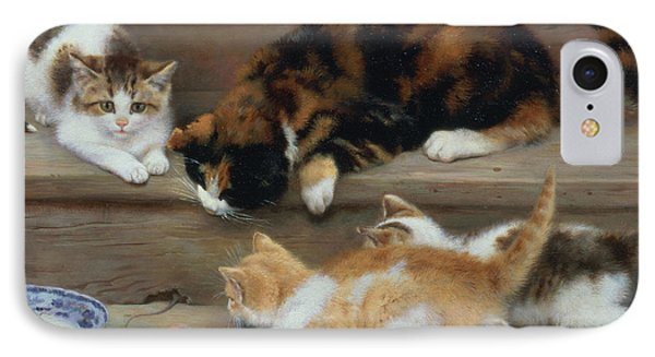 Cat And Kittens Chasing A Mouse   IPhone Case by Rosa Jameson