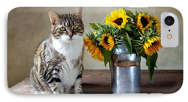 Cat And Sunflowers IPhone 7 Case by Nailia Schwarz