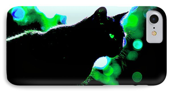 Cat Bathed In Green Light IPhone Case by Gina O'Brien