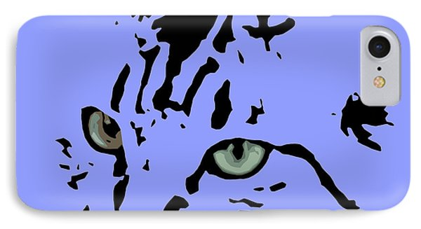 Cat Black Abstract Art Purple Background IPhone Case by Pablo Franchi