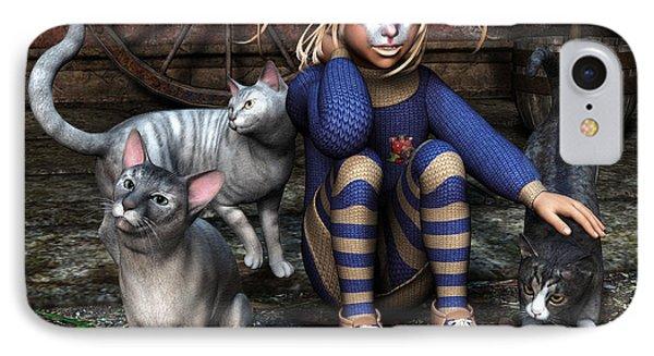 Cat Girl IPhone Case by Jutta Maria Pusl