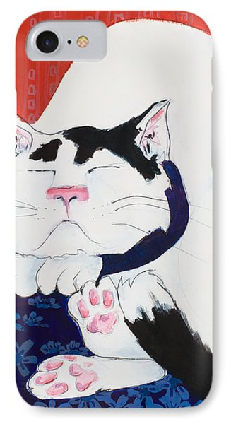 Cat I - Asleep IPhone Case by Leela Payne