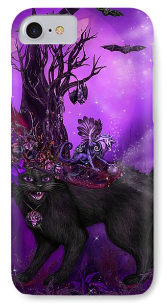 Cat In Goth Witch Hat Phone Case by Carol Cavalaris