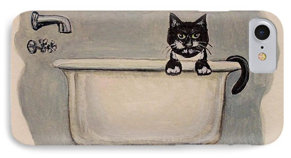 Cat In The Bathtub IPhone Case by Elizabeth Robinette Tyndall