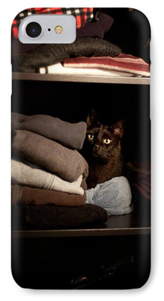 IPhone Case featuring the photograph Cat In The Closet by Laura Melis