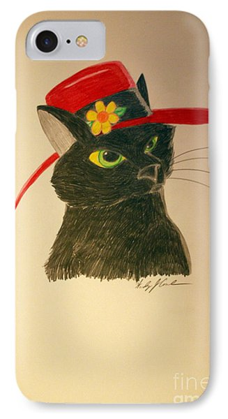 Cat In The Red Hat IPhone Case by Wendy Coulson