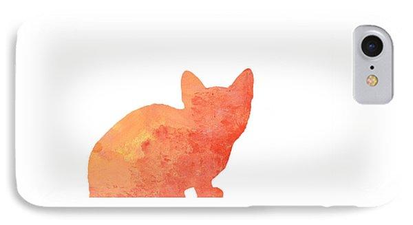 Watercolor Orange Cat Silhouette IPhone Case