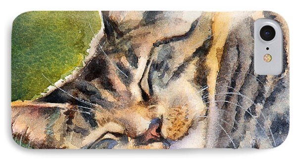 IPhone Case featuring the painting Cat Nap by Bonnie Rinier