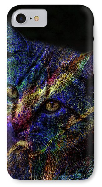 Cat Of Many Colors IPhone Case by Lesa Fine
