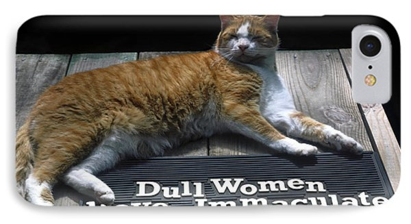 IPhone Case featuring the photograph Cat On Dull Women Mat by Sally Weigand