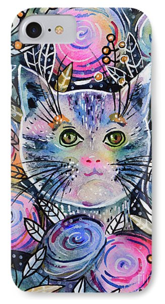 IPhone Case featuring the painting Cat On Flower Bed by Zaira Dzhaubaeva
