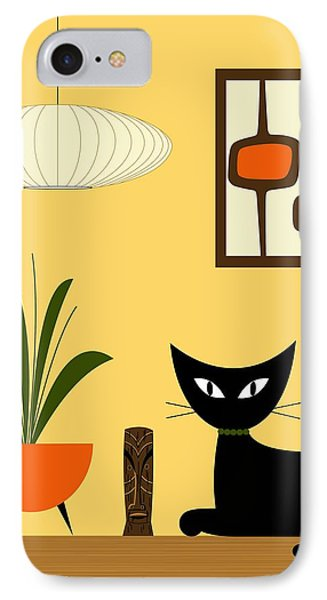Cat On Tabletop With Mini Mod Pods 3 IPhone Case