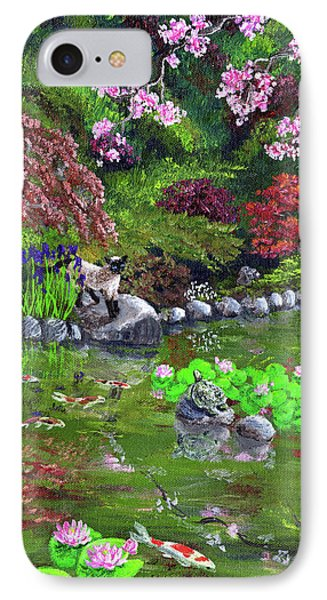 Cat Turtle And Water Lilies IPhone Case