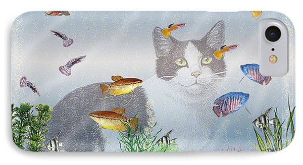 IPhone Case featuring the digital art Cat Watching Fishtank by Terri Mills