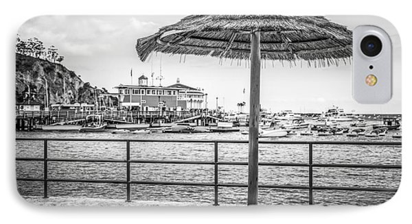 Catalina Island Umbrella In Black And White IPhone Case by Paul Velgos