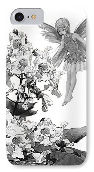 Catalpa Tree Fairy With Flowers B And W IPhone Case
