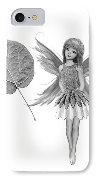 Catalpa Tree Fairy With Leaf B And W IPhone Case