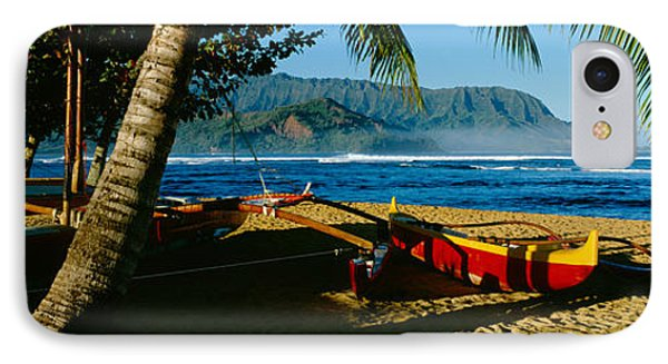 Catamaran On The Beach, Hanalei Bay IPhone Case by Panoramic Images