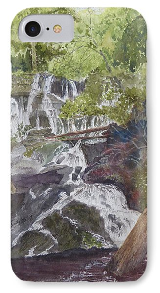 IPhone Case featuring the painting Catawba Falls - Working Notes by Joel Deutsch