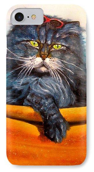 Cat.go To Swim.original Oil Painting Phone Case by Natalja Picugina