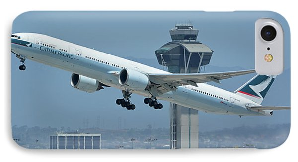 IPhone Case featuring the photograph Cathay Pacific Boeing 777-367er B-kph Los Angeles International Airport May 3 2016 by Brian Lockett