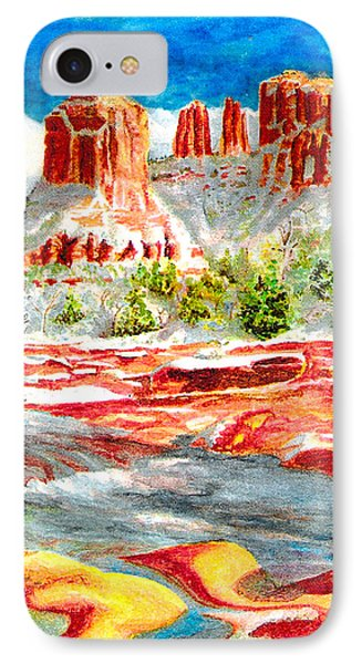 IPhone Case featuring the painting Cathedral Rock Crossing by Eric Samuelson