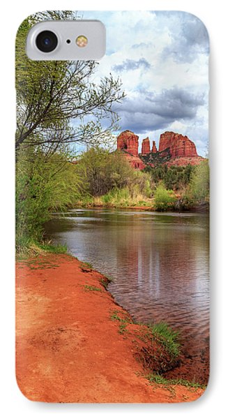 Cathedral Rock From Oak Creek IPhone Case by James Eddy