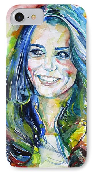 Catherine,duchess Of Cambridge - Watercolor Portrait.4 IPhone Case