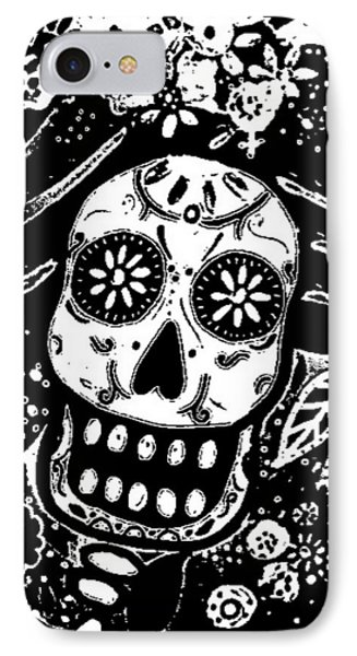 IPhone Case featuring the painting Catrina Dia De Los Muertos by Pristine Cartera Turkus