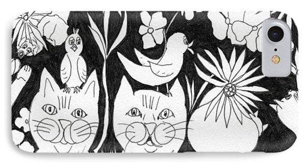 Cats In The Garden IPhone Case by Lou Belcher