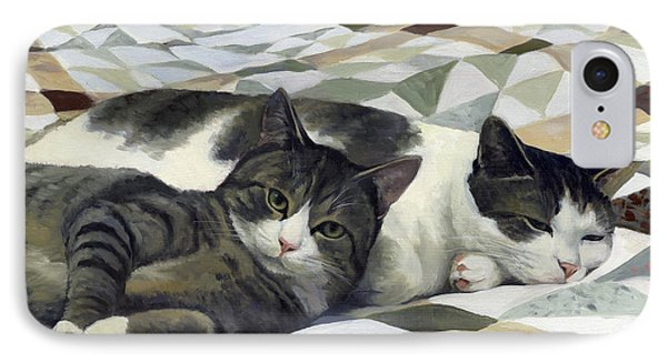 Cats On The Quilt IPhone Case by Alecia Underhill