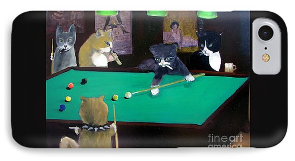 Cats Playing Pool Phone Case by Gail Eisenfeld