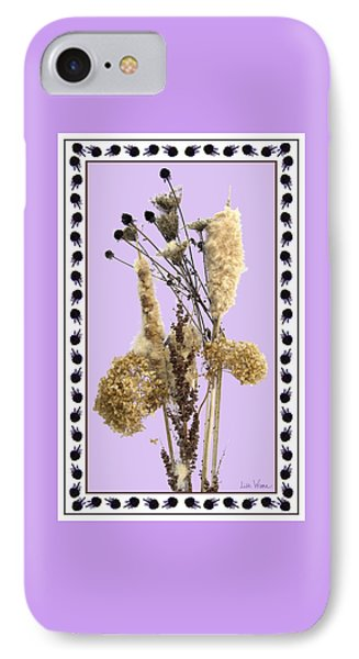 IPhone Case featuring the digital art Cattails And November Flowers by Lise Winne