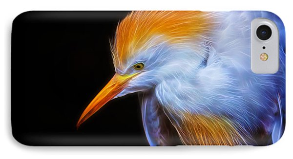 Cattle Egret Electrified Phone Case by David Gn