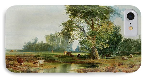 Cattle Watering IPhone Case by Thomas Moran
