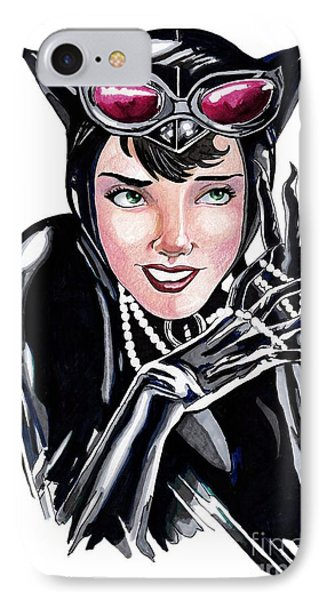 Catwoman- Markers Phone Case by Bill Richards