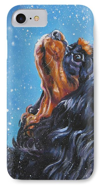Cavalier King Charles Spaniel Black And Tan In Snow IPhone Case by Lee Ann Shepard