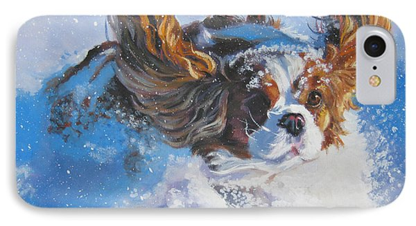 Cavalier King Charles Spaniel Blenheim In Snow Phone Case by Lee Ann Shepard