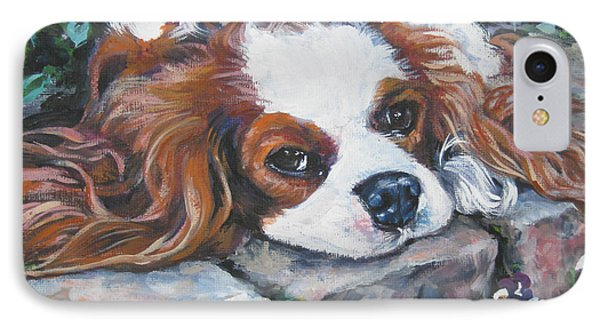 Cavalier King Charles Spaniel In The Pansies  IPhone Case