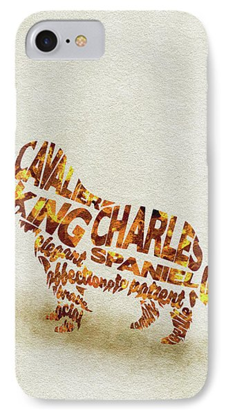 IPhone Case featuring the painting Cavalier King Charles Spaniel Watercolor Painting / Typographic Art by Ayse and Deniz