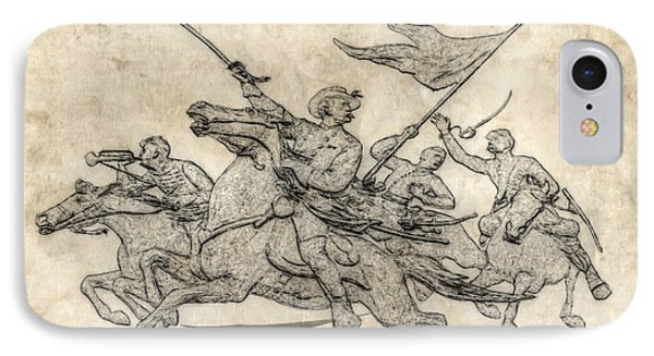 Cavalry Charge Gettysburg Sketch IPhone Case