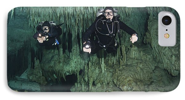 Cave Divers In Dreamgate Cave System Phone Case by Karen Doody
