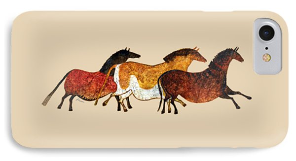 Cave Horses In Beige IPhone Case by Hailey E Herrera
