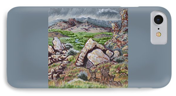 IPhone Case featuring the painting Cedar Breaks View With Mule Deer by Dawn Senior-Trask
