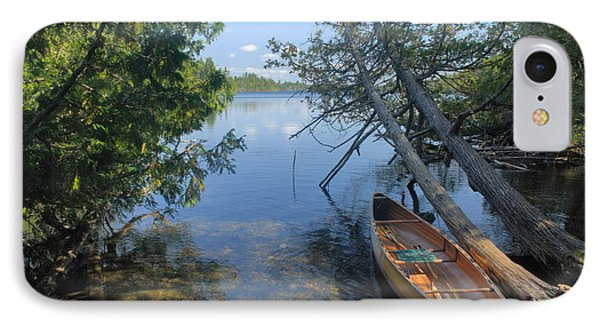 Cedar Strip Canoe And Cedars At Hanson Lake IPhone Case by Larry Ricker