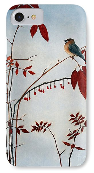 Cedar Waxwing IPhone 7 Case by Laura Tasheiko