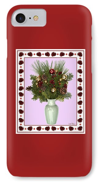 IPhone Case featuring the digital art Celadon Vase With Christmas Bouquet by Lise Winne