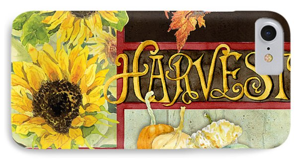 Celebrate Abundance - Harvest Fall Leaves Squash N Sunflowers W Paisleys IPhone Case by Audrey Jeanne Roberts