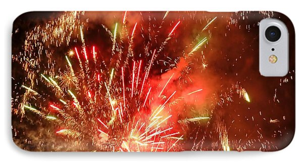 IPhone Case featuring the photograph Celebratory Fireworks And Firecrackers Light Up The Sky by Yali Shi